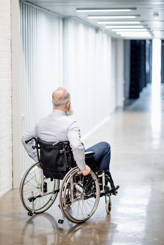 Patient in a wheelchair in the hospital