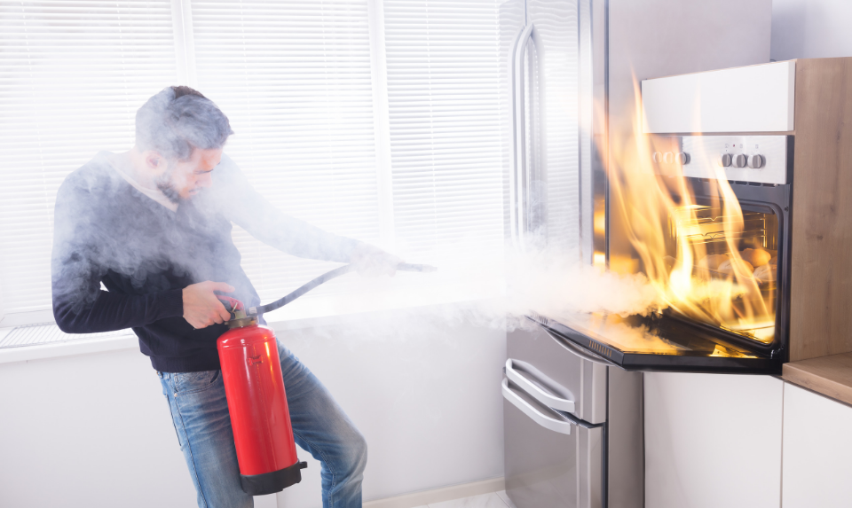A fire extinguisher is also important  in the kitchen.